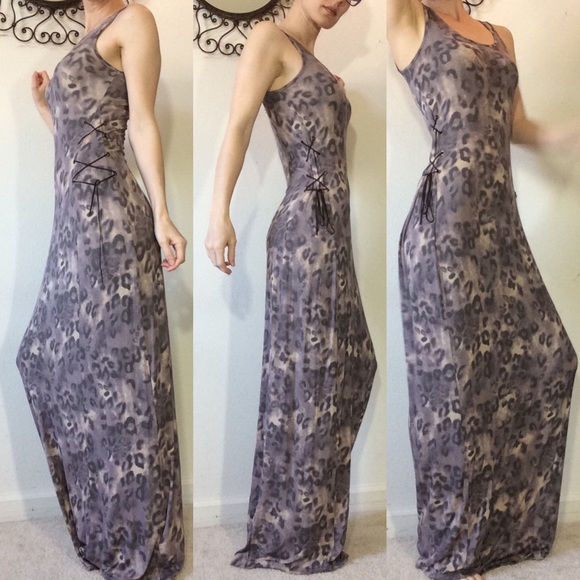 Guess Dresses & Skirts - Cheetah print lace up suede maxi dress